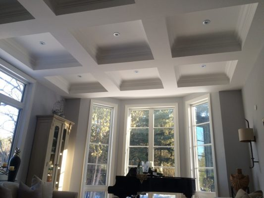 Interior painting project waffle ceiling paint.